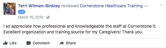 cornerstone healthcare training company facebook review