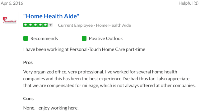 Personal Touch Home Care reviews