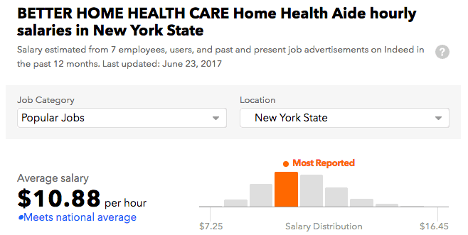 Better Home Health Care Agency salary