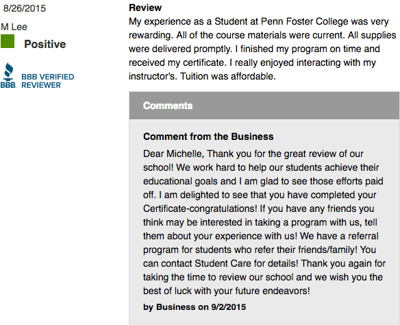 Penn Foster Career School reviews